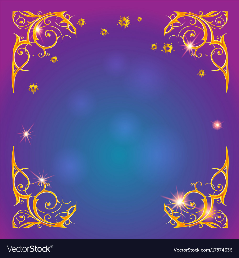 Gold holiday magic frame Royalty Free Vector Image