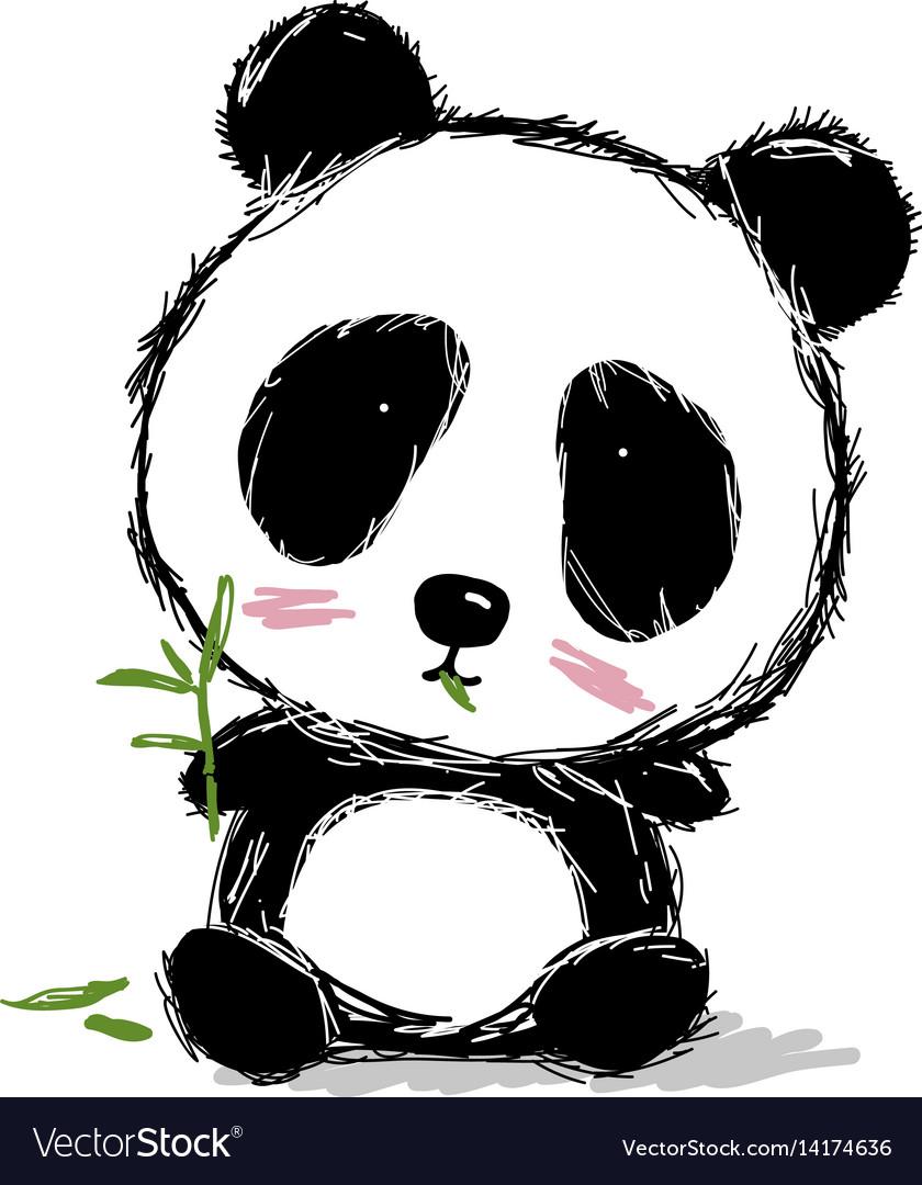 Hand drawn panda bear design on white background