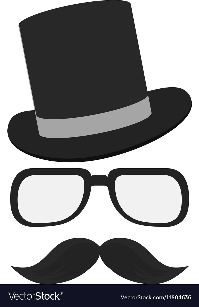 isolated hipster hat glasses and mustache design vector imageMustache Design Pictures #7