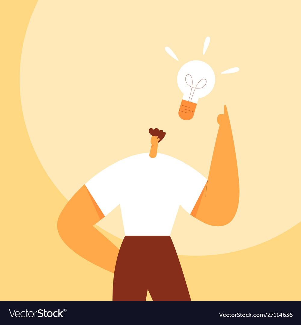 Light bulb over man head business idea
