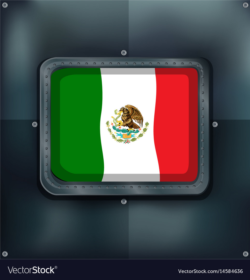 Mexico flag in metal frame