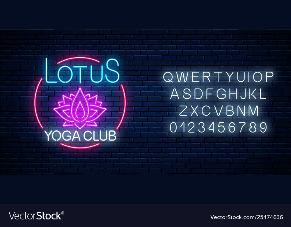 Neon glowing sign lotus yoga club in circle