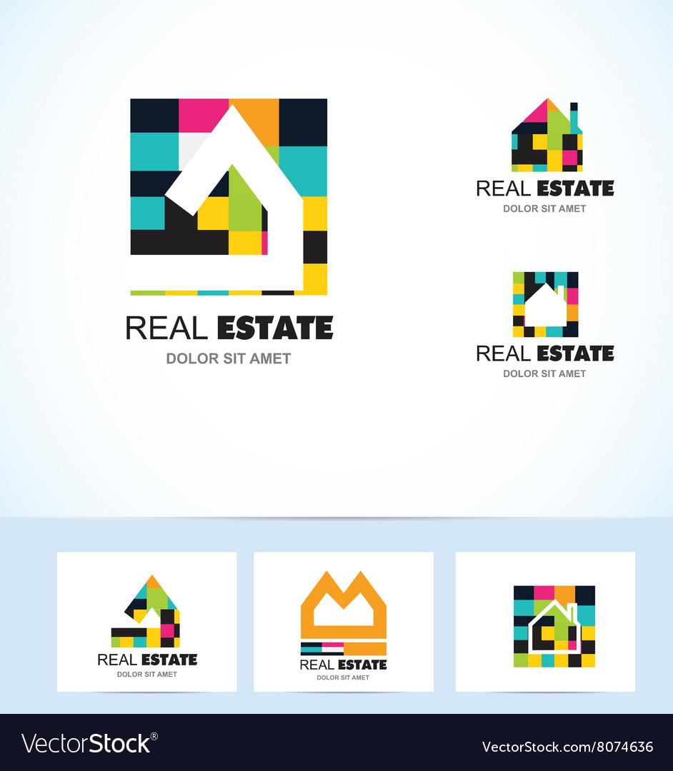 Real estate tiles house logo vector image