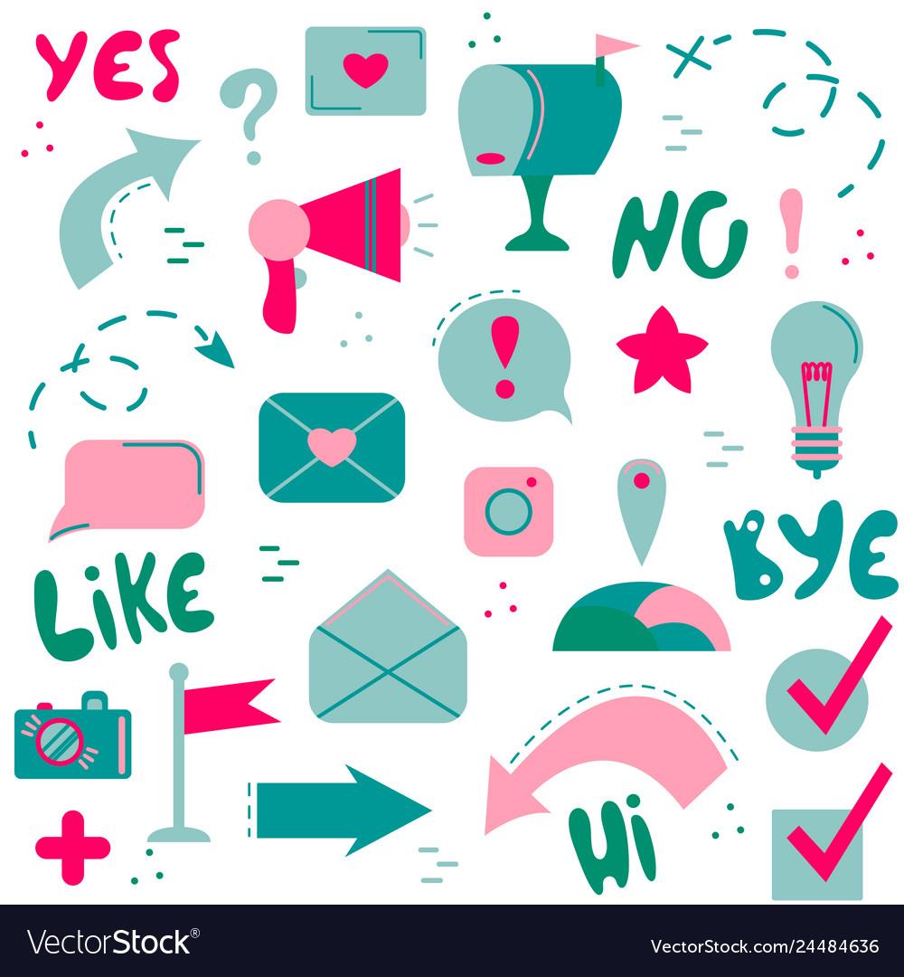 Set of flat icons social networks internet modern