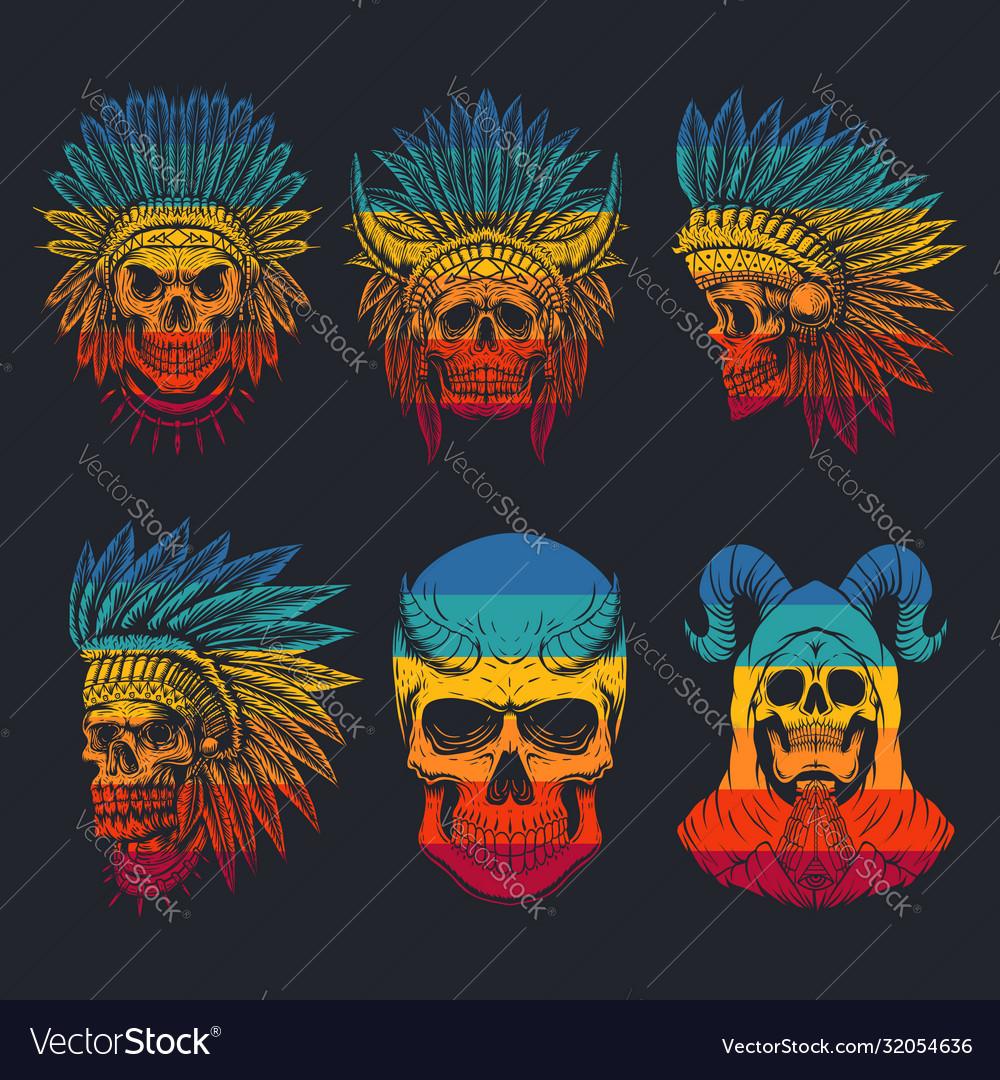 Skull head collection retro