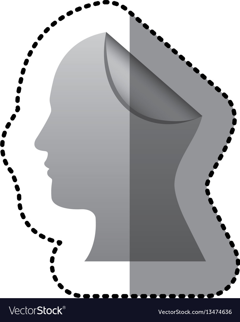 Sticker silhouette silver head human with fold