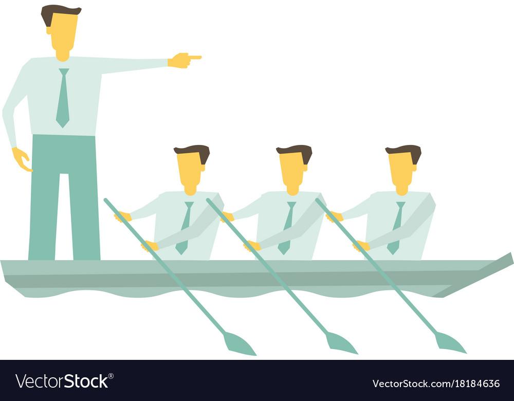 Team boat together business teamwork leadership