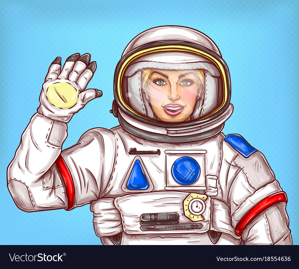 Young astronaut girl in a space suit waving her