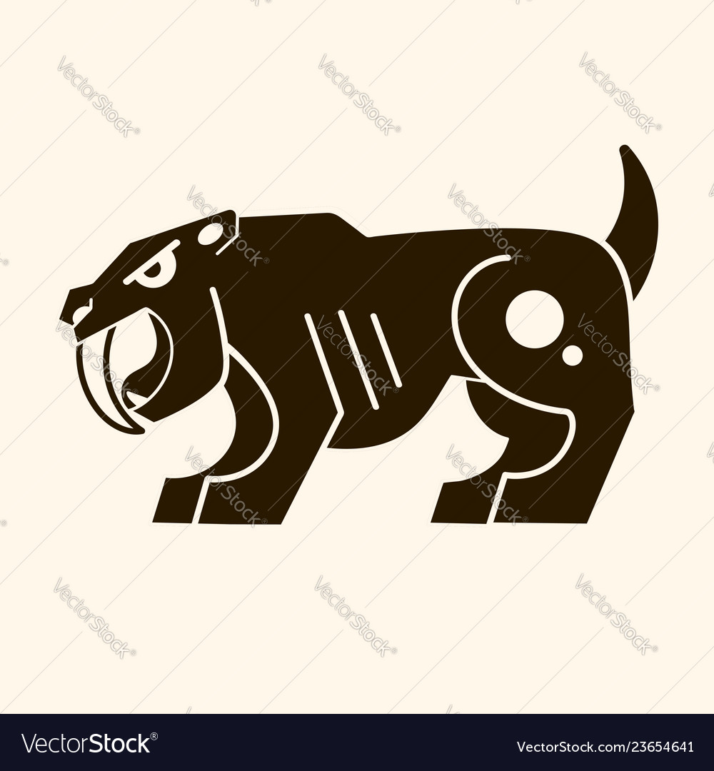 Angry saber-toothed tiger prehistoric era logo