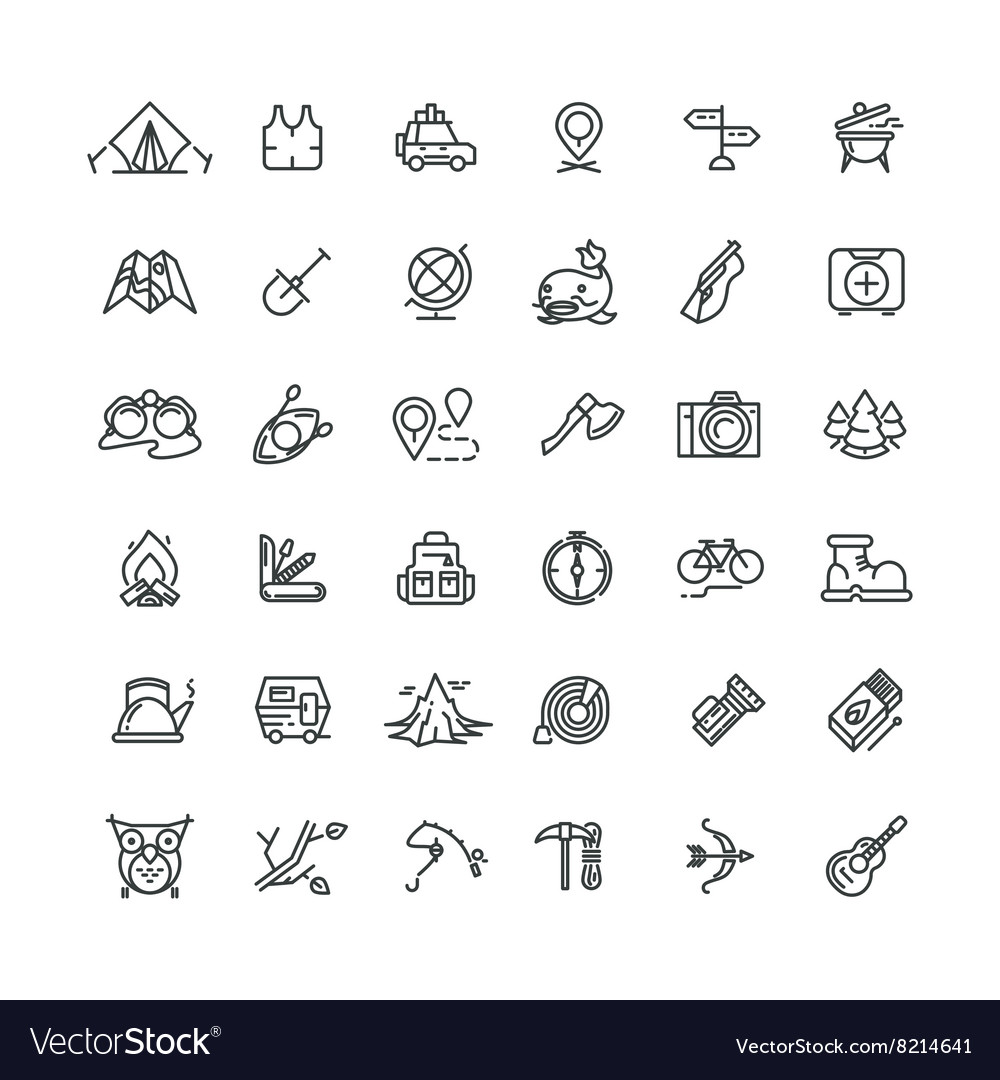 Camping and outdoor line icons set
