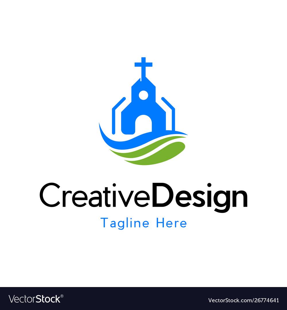 Church building religion creative business logo vector image