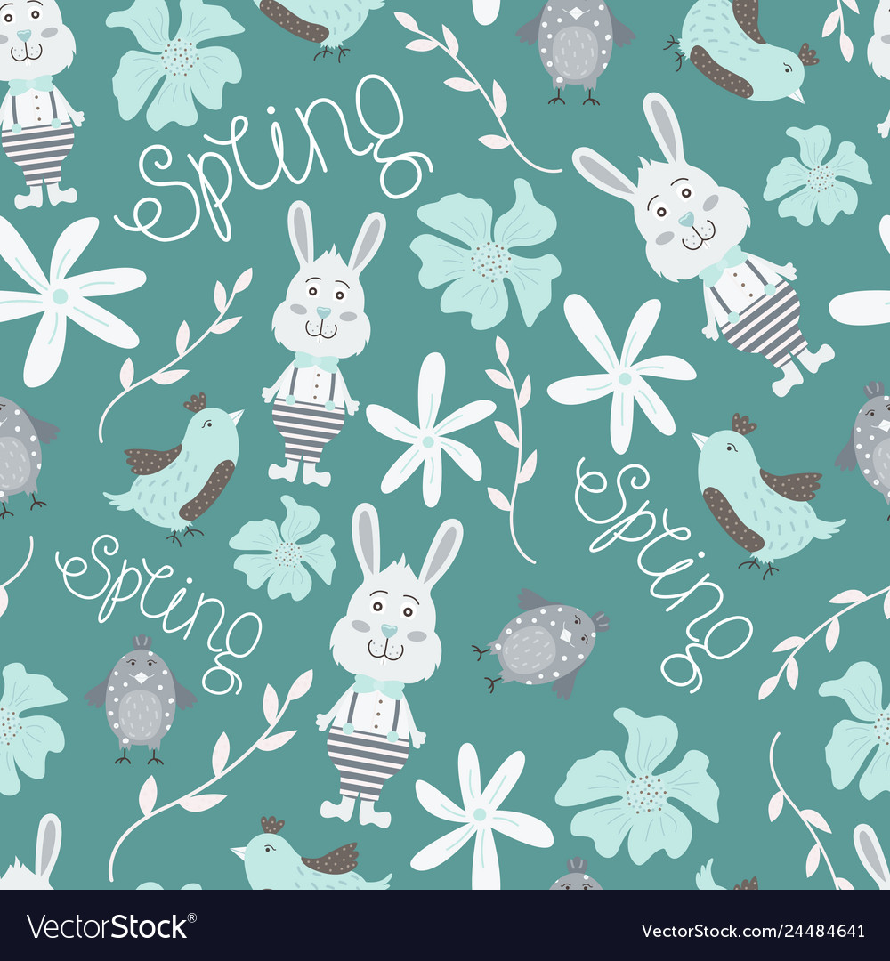 Cute seamless pattern with flowers birds