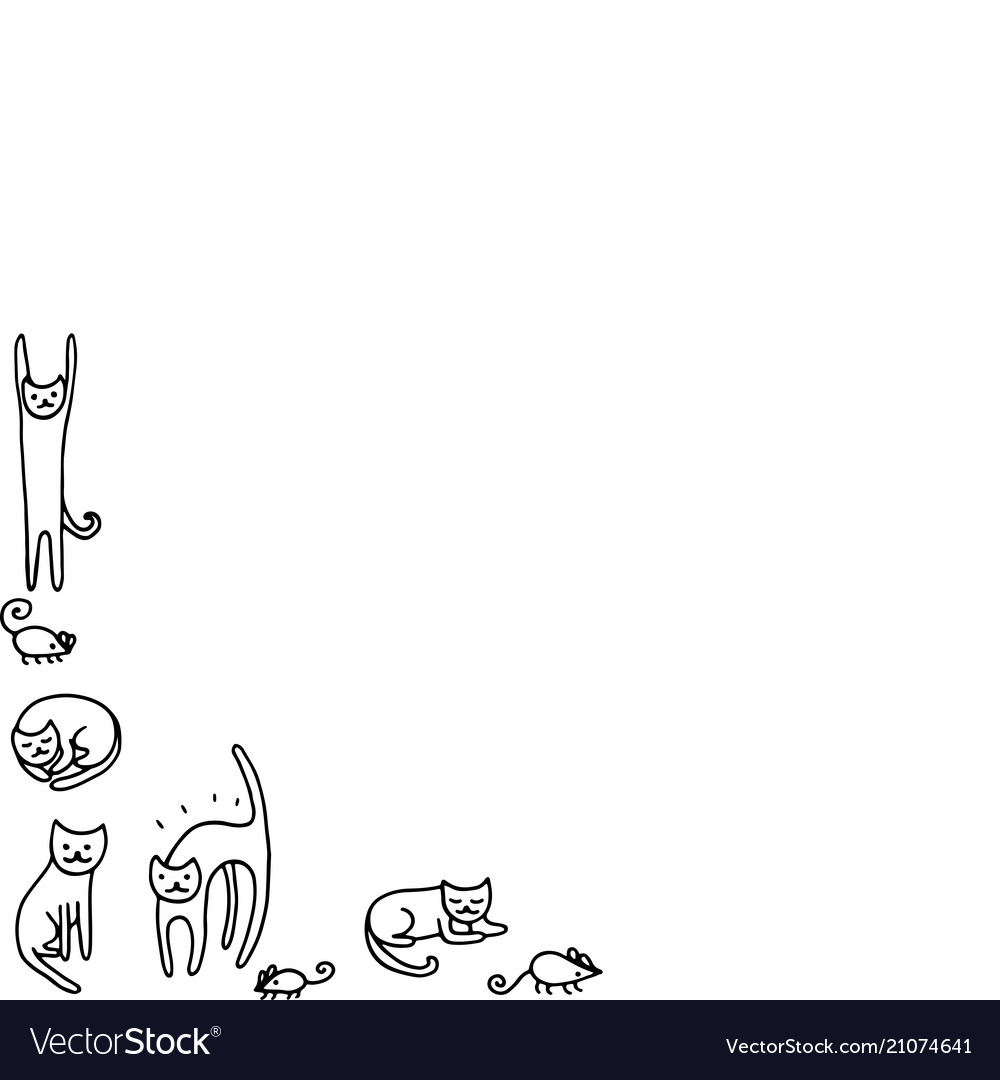 Doodle frame with funny cats coloring page for