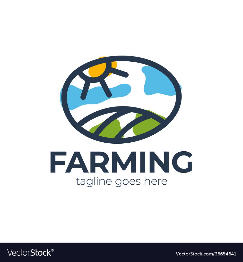 Farm logo template meadow silhouette land
