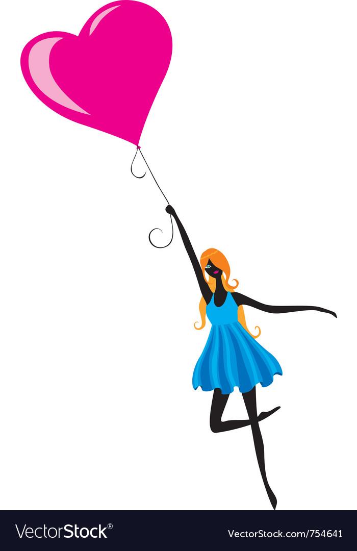 Girl flying in air balloon vector image
