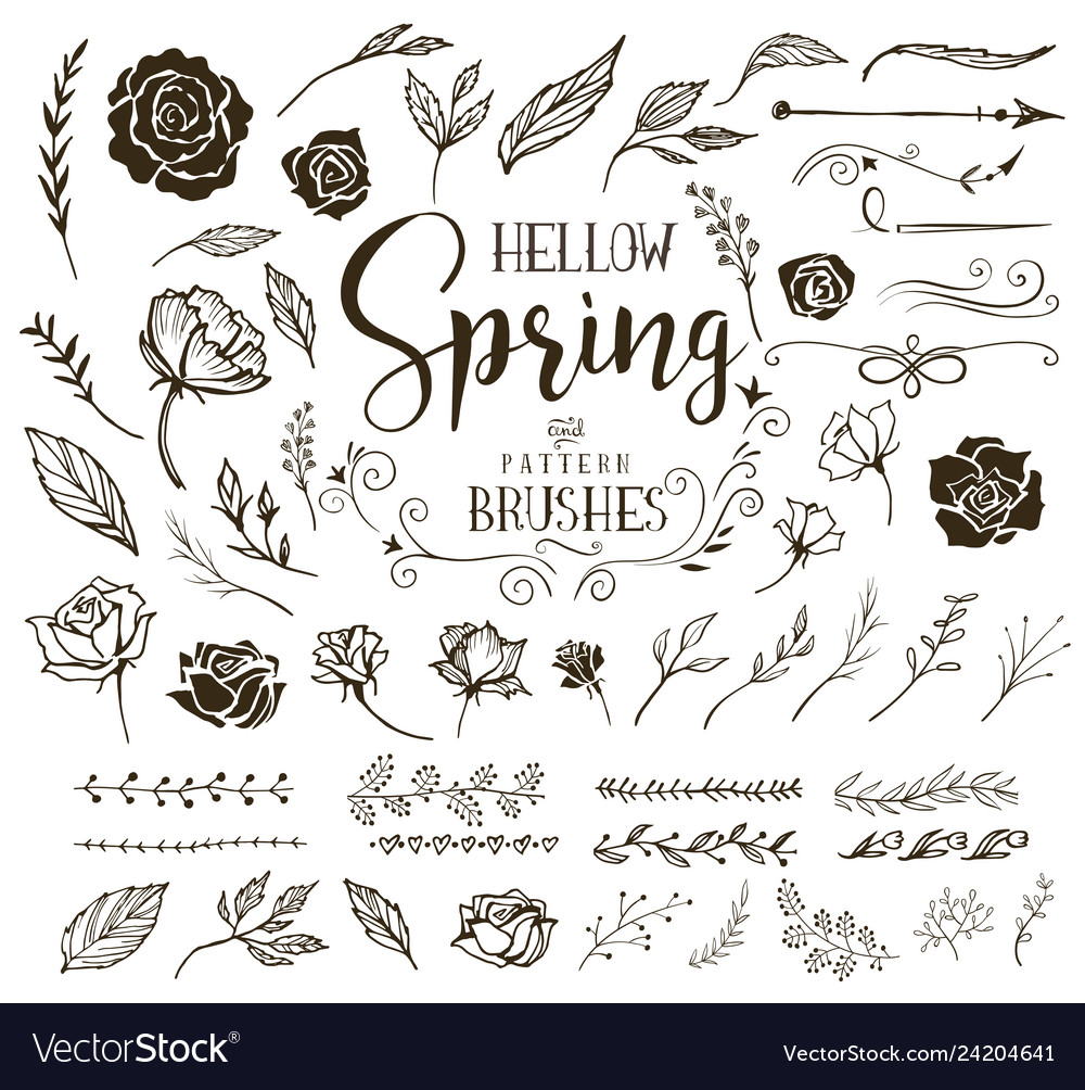 Hello spring floral design elements