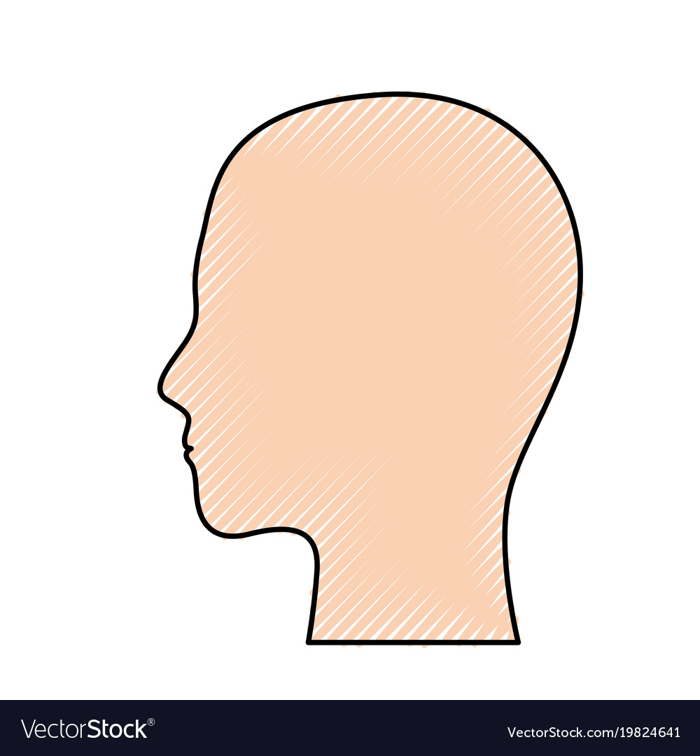 Human head in colored crayon silhouette