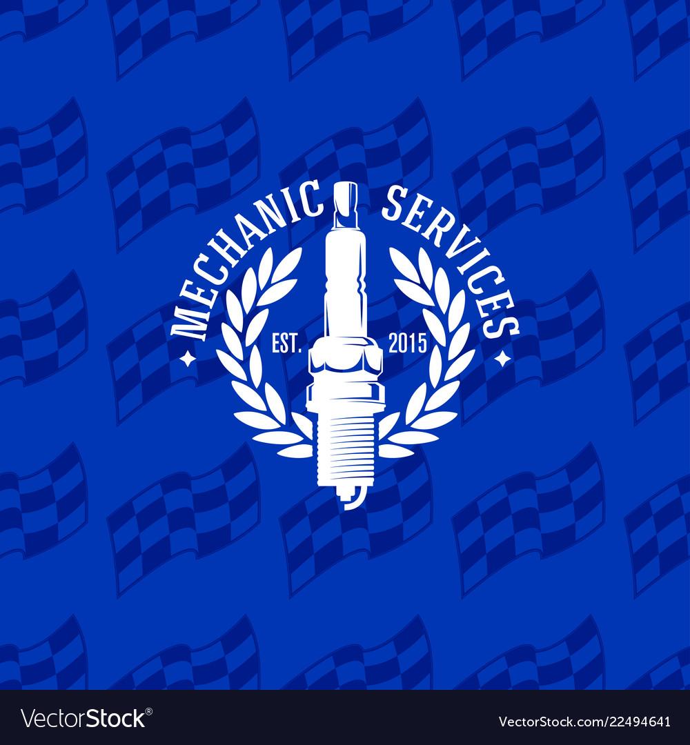 Mechanic service logo on seamless pattern