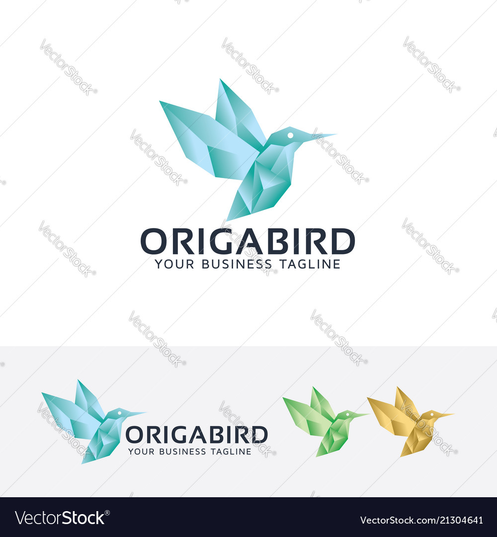 Origami bird logo design