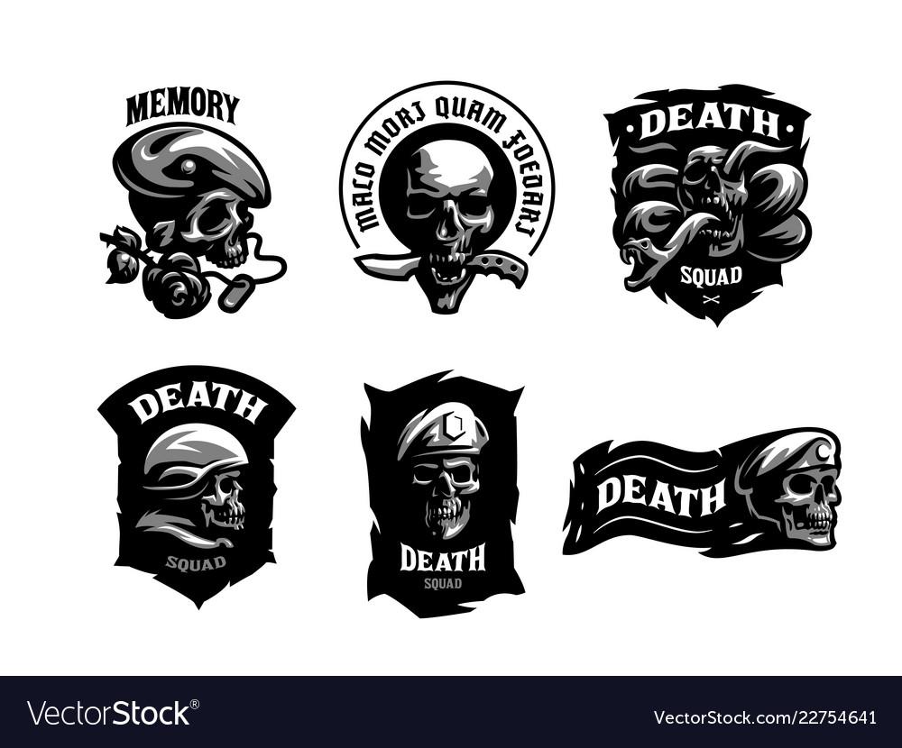 Set of skull emblems