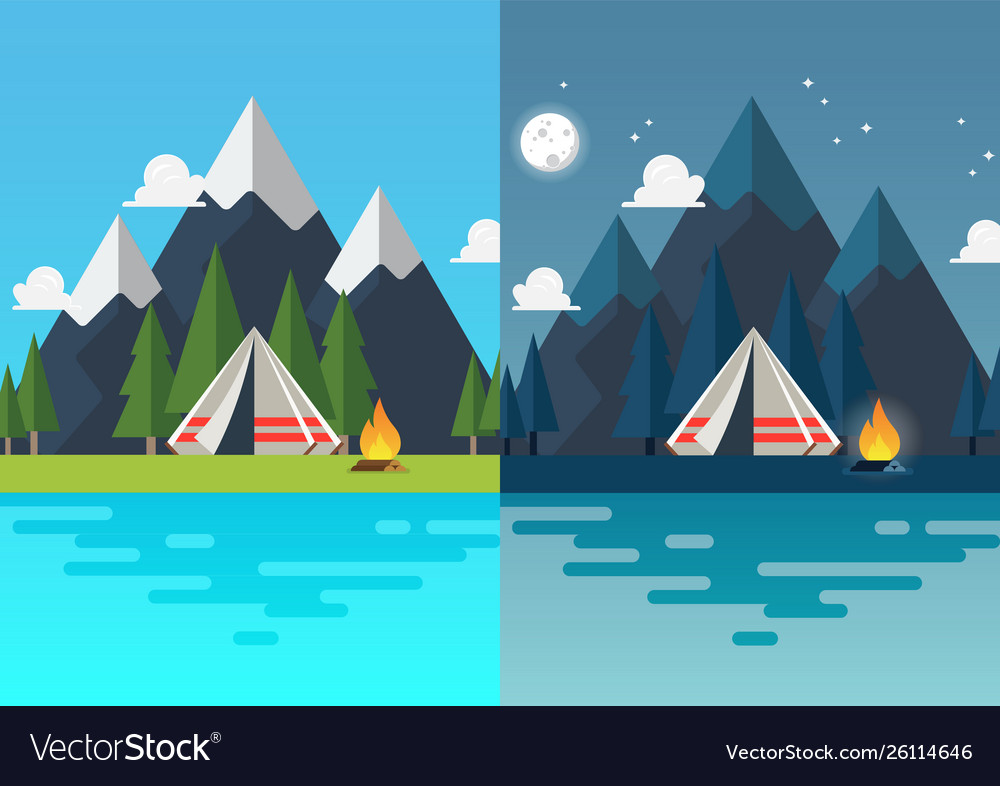 Camping tent with landscape at day and night