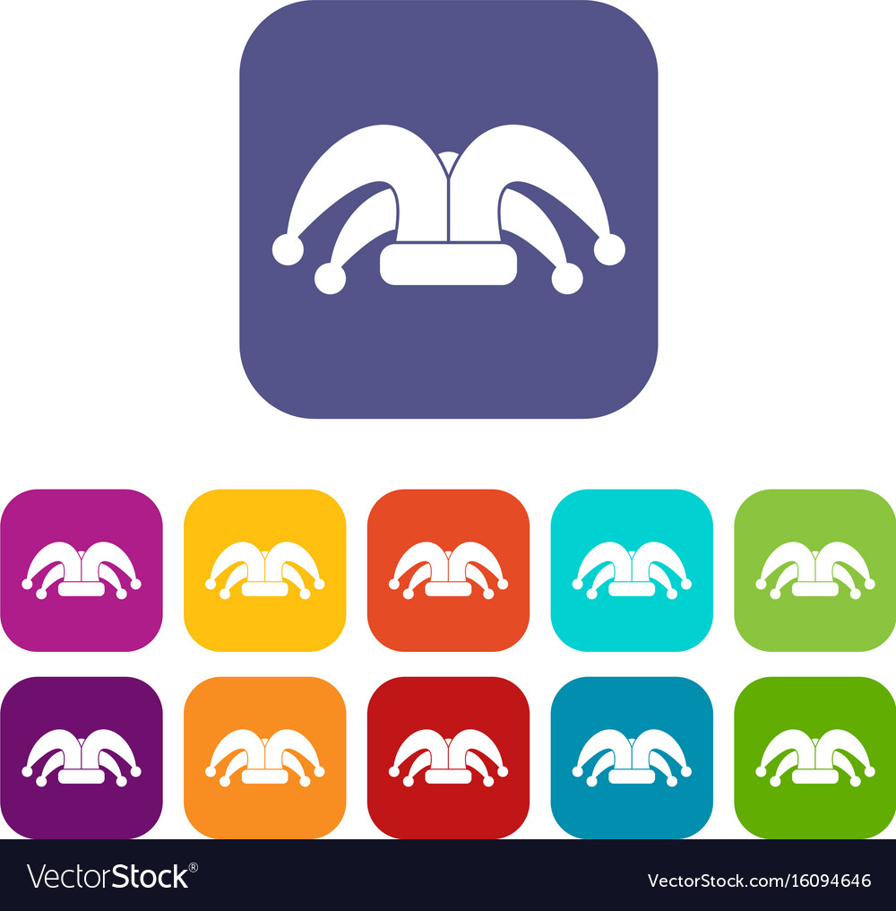 Clown Hat Icons Set Royalty Free Vector Image Vectorstock
