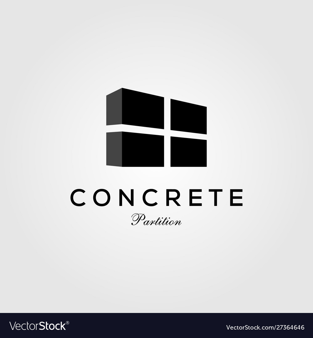 Concrete partition exposed wall panel logo icon