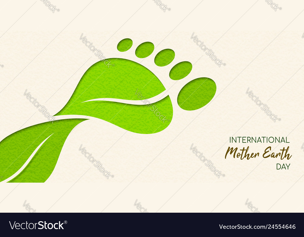 Earth day papercut leaf carbon footprint concept