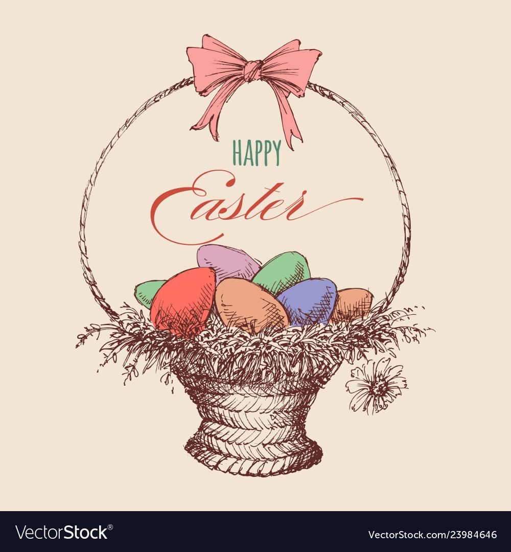 Easter eggs wicker basket