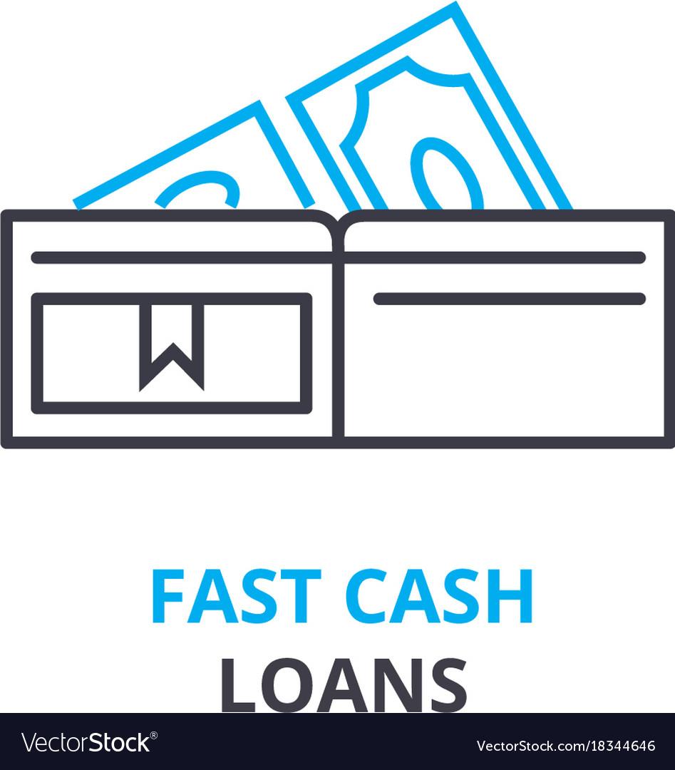 Fast cash loans concept outline icon linear