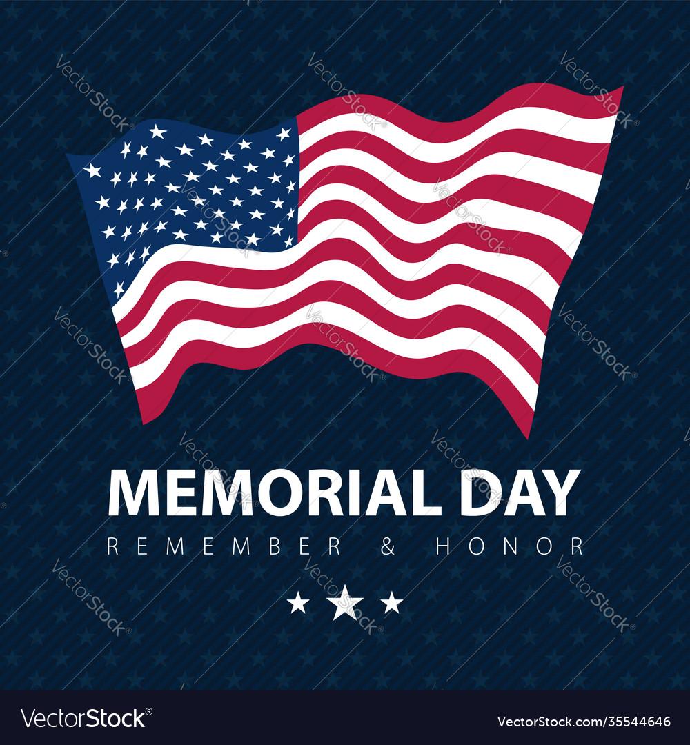 Flag usa on blue poster memorial day celebration