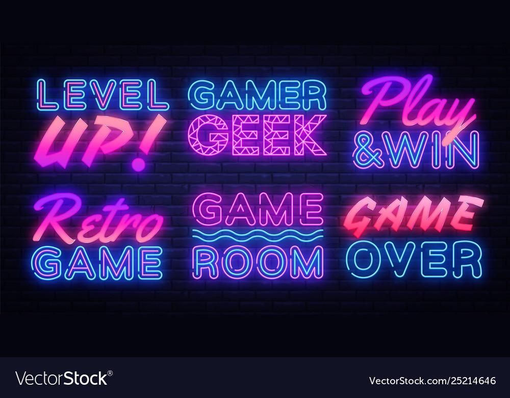 Gaming neon signs set gamer neon sign