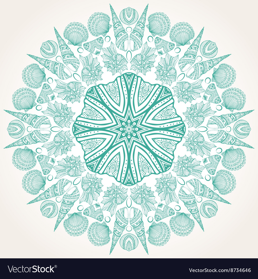 Graphic round ornament with sea shells