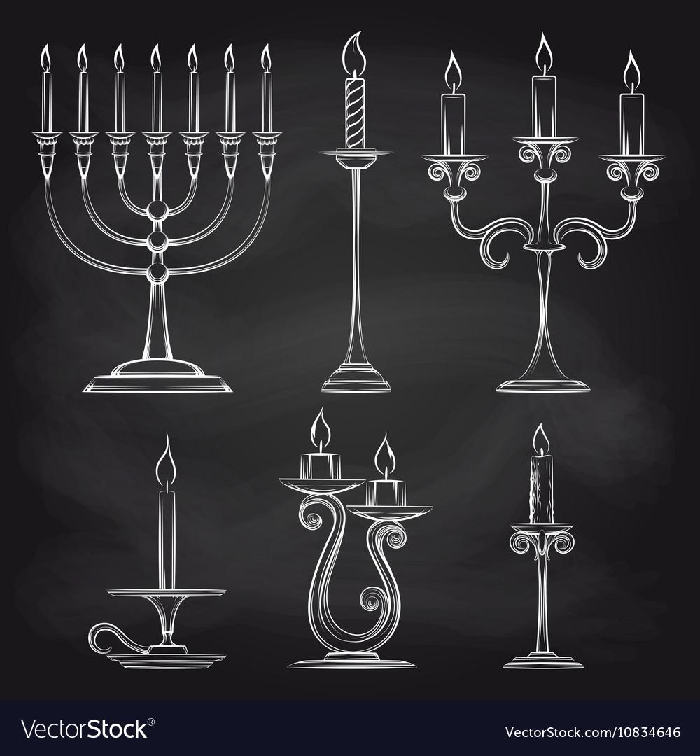 Hand drawn candles set on chalkboard