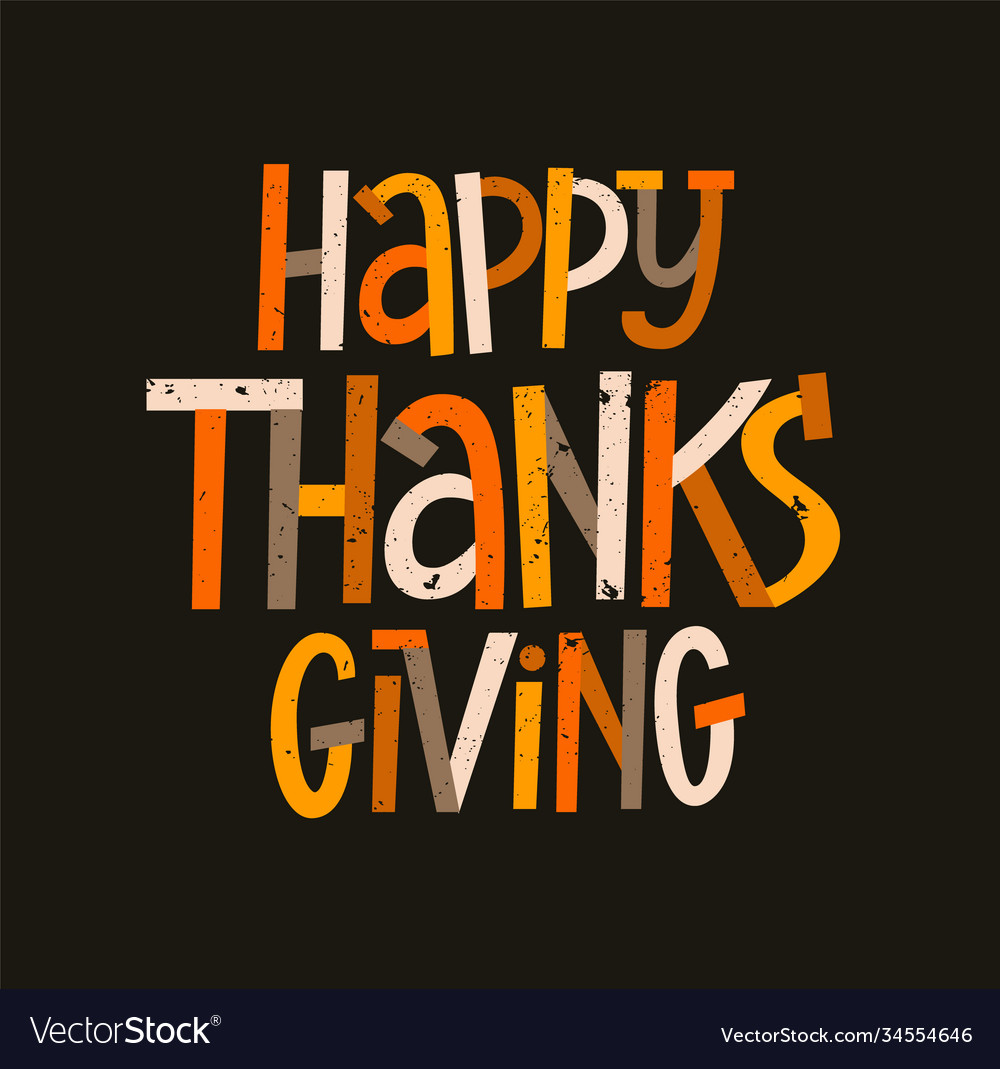 Happy thanksgiving modern typography poster