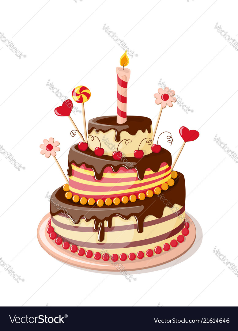 Awesome Isolated Valentines Cake Royalty Free Vector Image Funny Birthday Cards Online Elaedamsfinfo