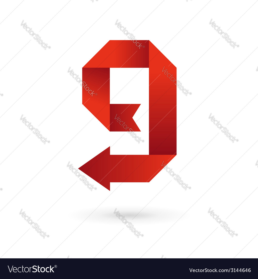 Letter G number 9 arrow ribbon logo icon design vector image