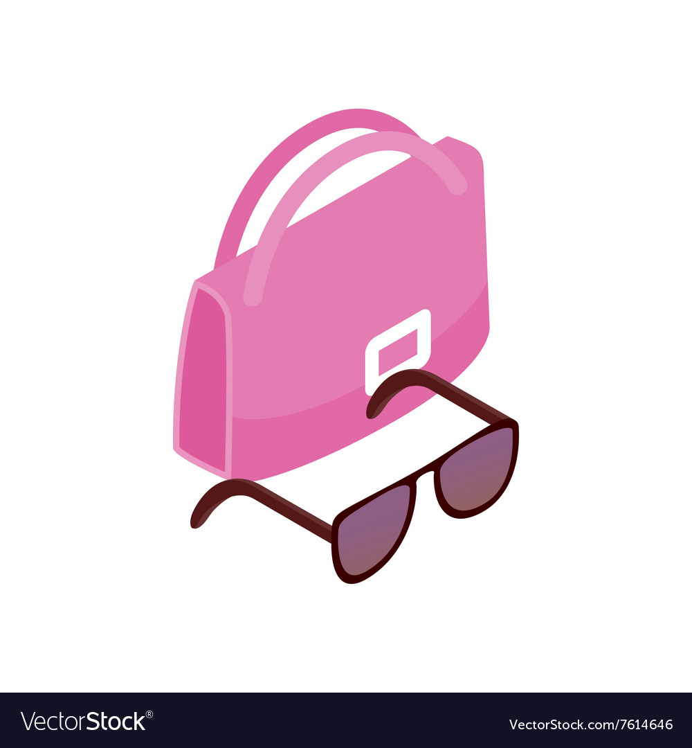 Pink Italian bag and black glasses icon