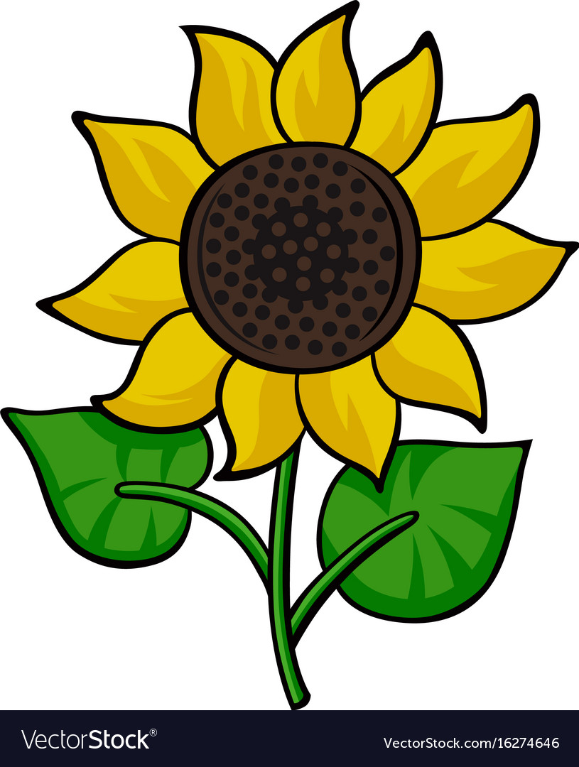 6267027c2 Pop art style sunflower sticker Royalty Free Vector Image