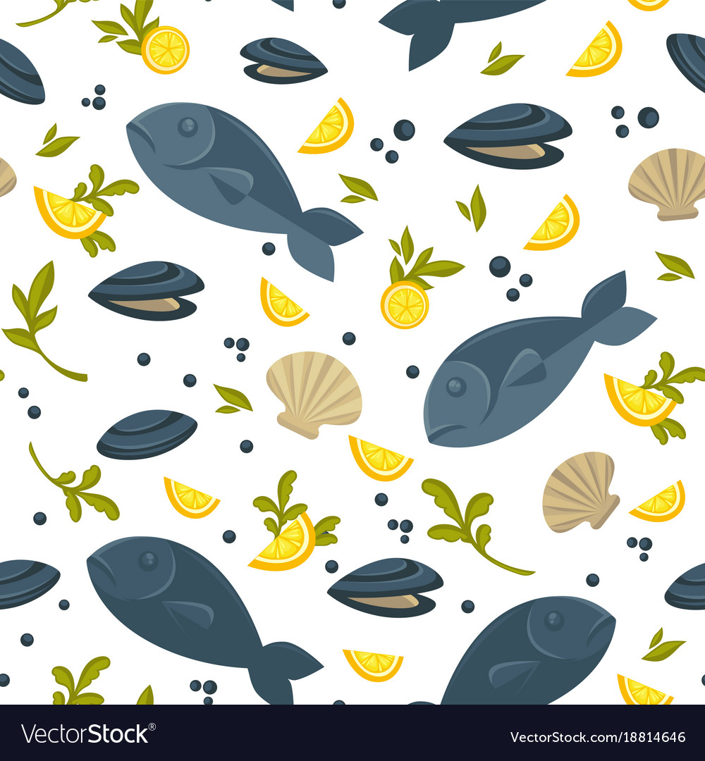 Salmon fish and oysters in shell in endless vector image
