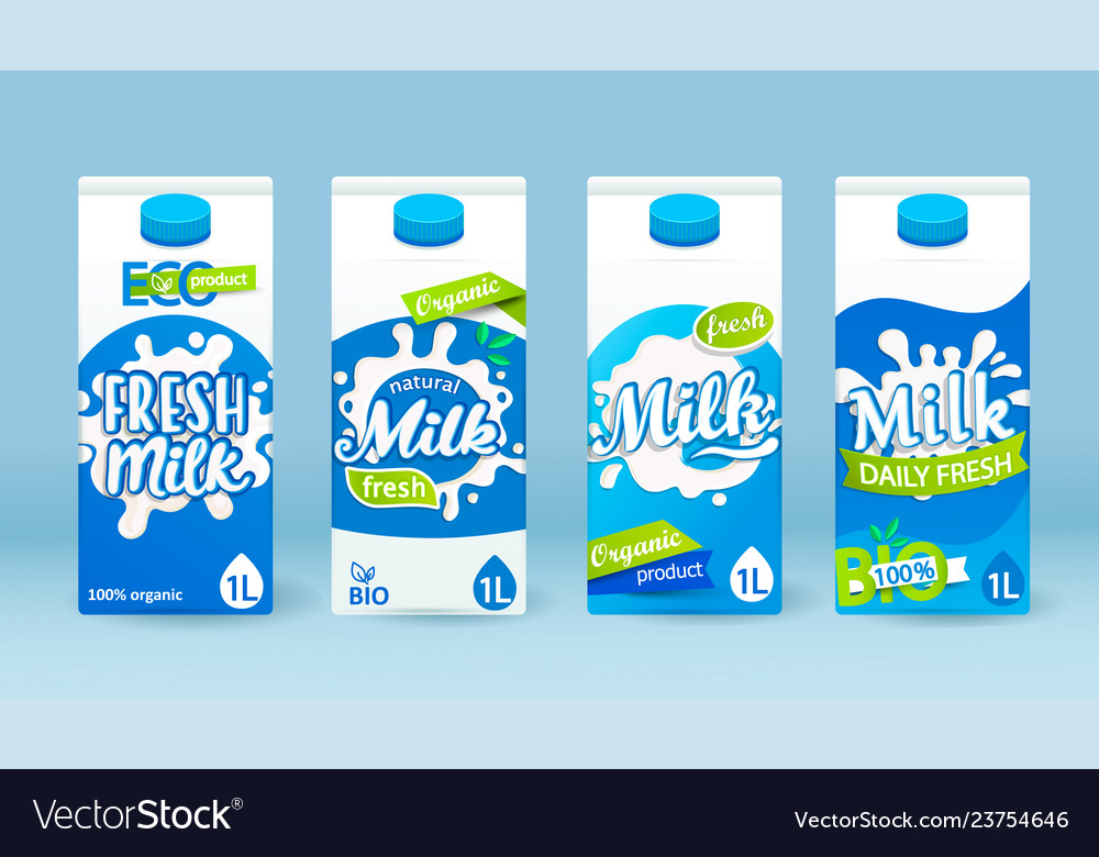 Set of milk tetra pack with different labels