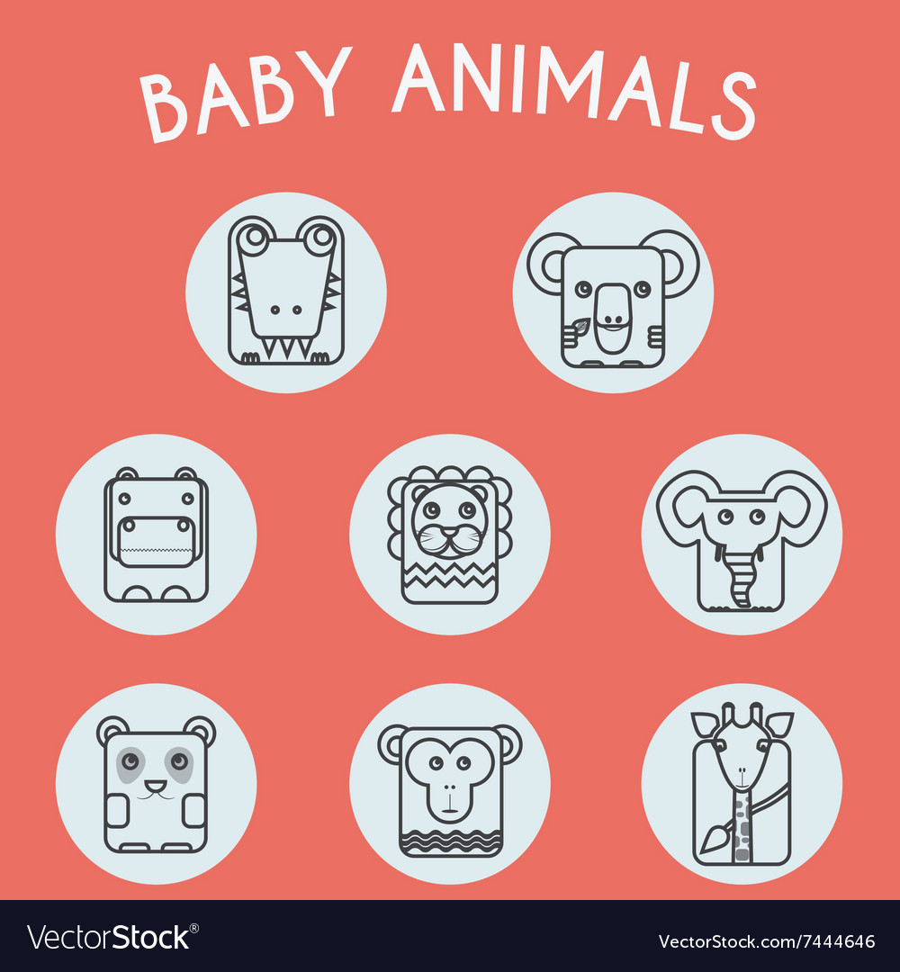 Wild Baby Animals Icons Set vector image