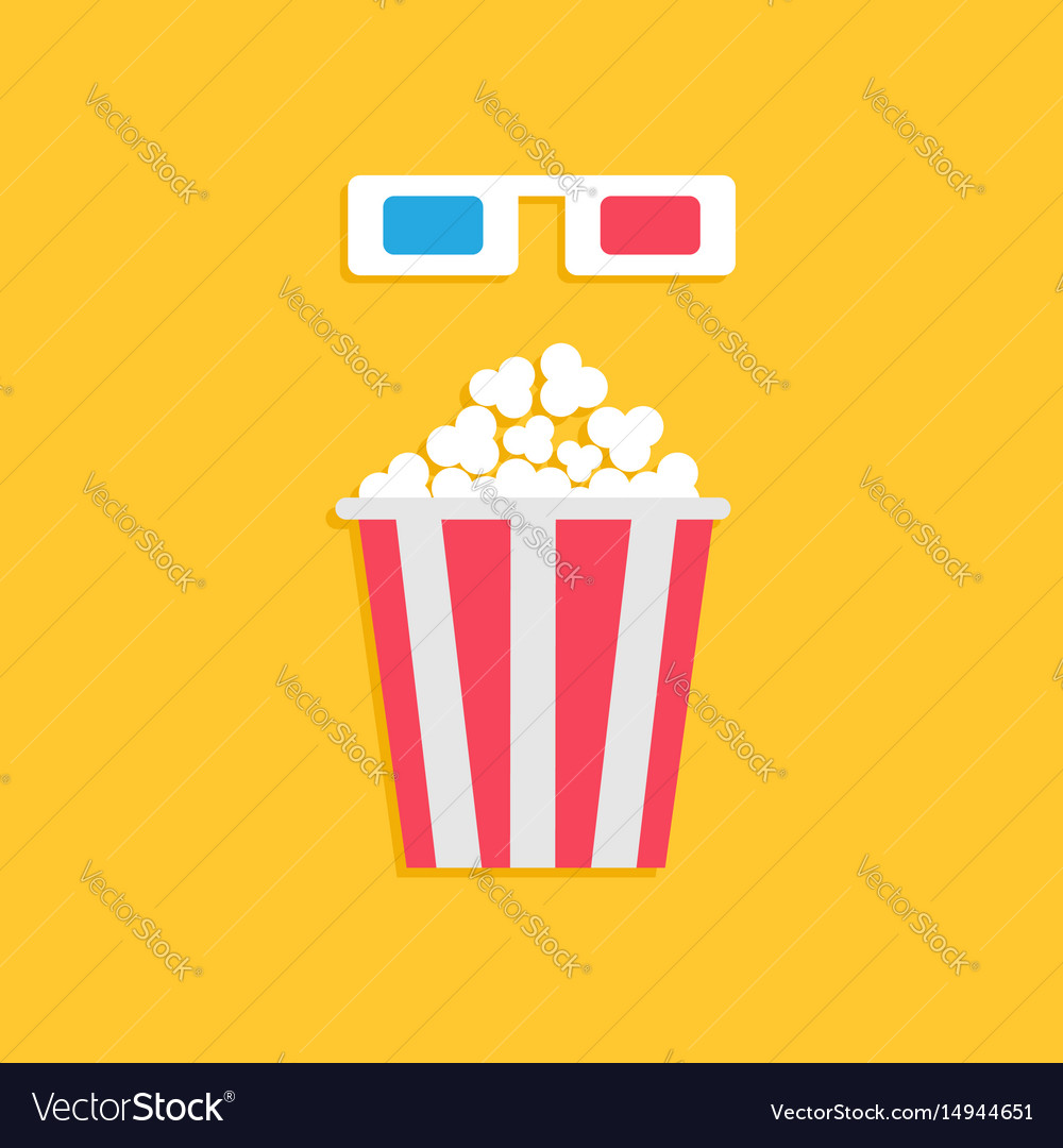 3d paper red blue glasses and big popcorn box