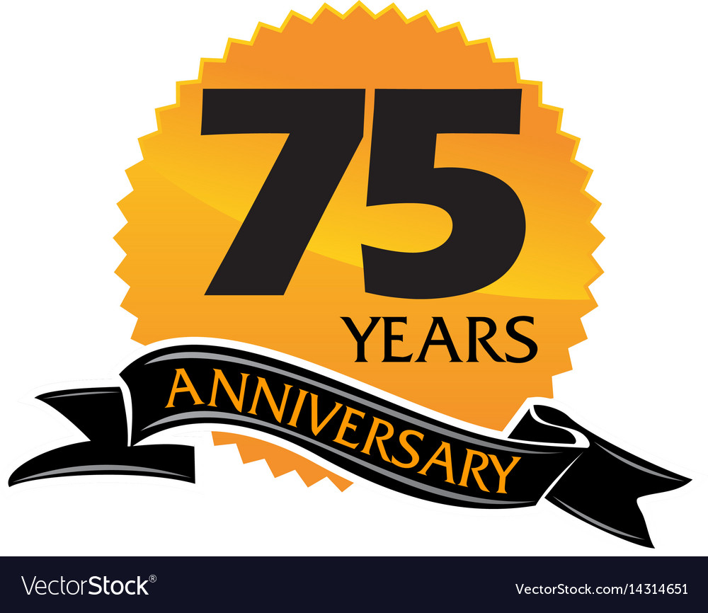 75 years ribbon anniversary vector image