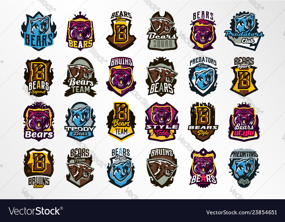 A large colorful collection emblems badges
