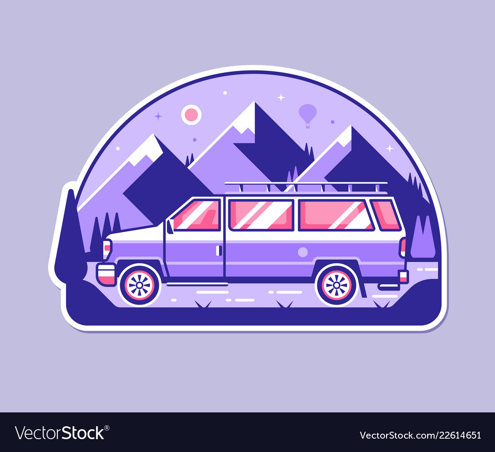 Adventure badge with minivan and mountains