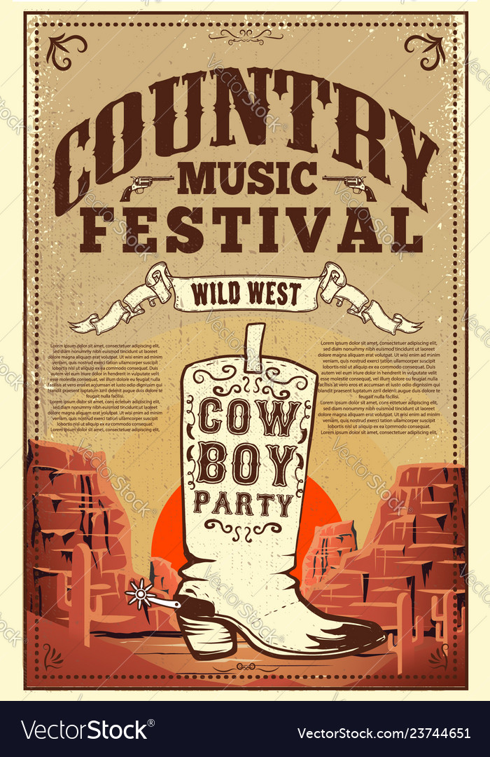 Country music festival poster party flyer with