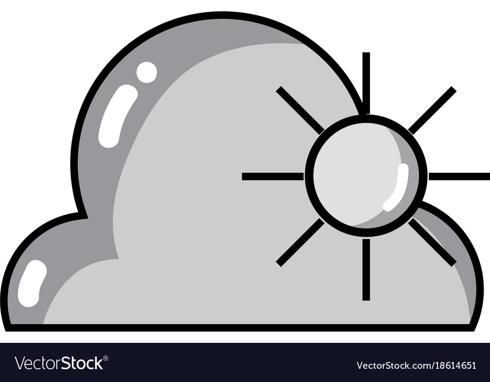 Line Art Of Sun : Grayscale cloud with sun natural weather in the vector image