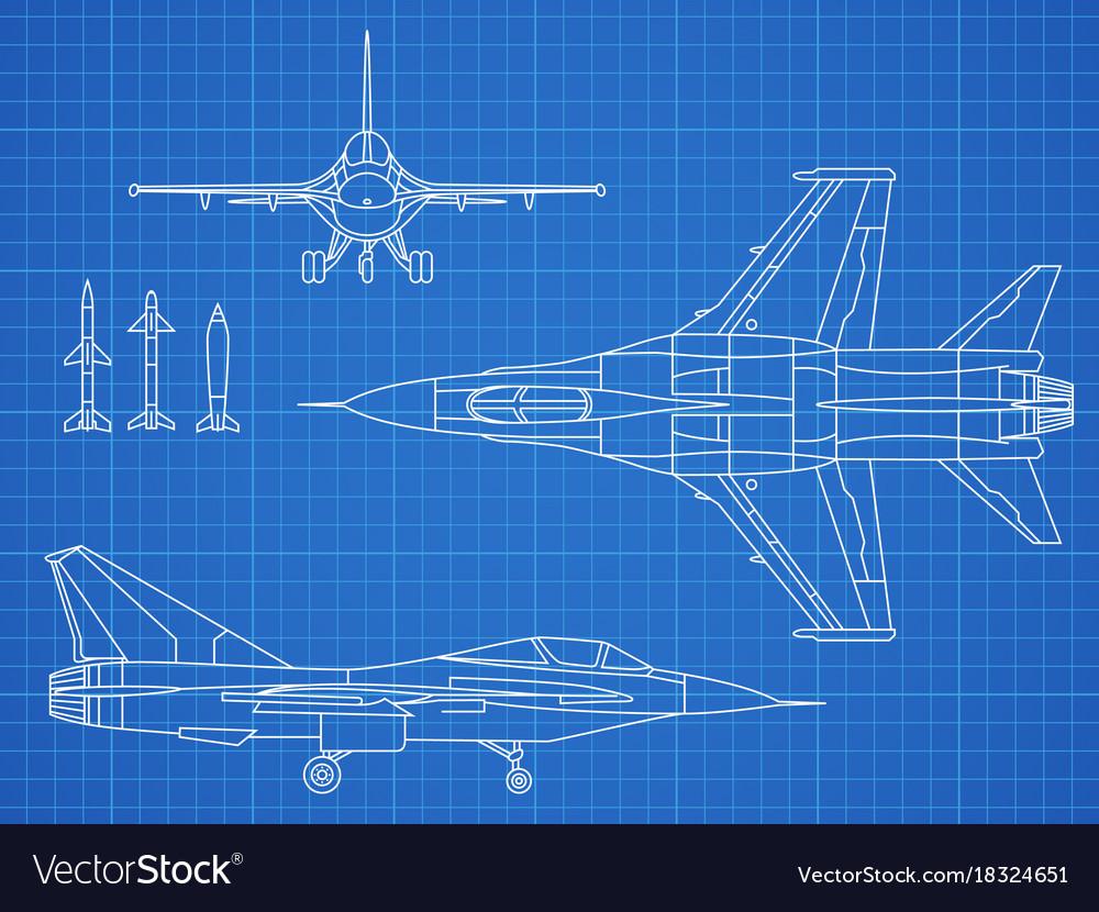 Military jet aircraft drawing blueprint