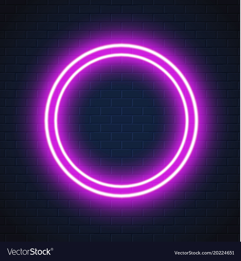 Neon purple circle frame sign brick wall